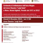 """Intitolazione dell'Aula Magna del Liceo Classico """"Luigi Sodo"""" a Mons. Nicola Vigliotti"""