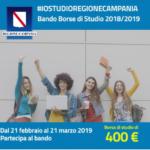 Bando Borse di Studio 2018-2019 #iostudioregionecampania: voucher di 400euro per libri e servizi